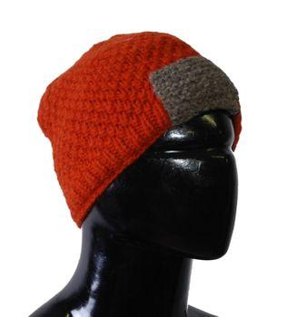 Strickmütze Mütze aus Wolle - Fleecefutter Beanie XS Orange