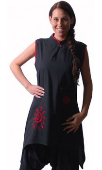 Kunst und Magie Womens Psy Goa Tunic Layered Look Hippie Black/Red