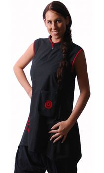Kunst und Magie Womens Psy Goa Tunic Layered Look Hippie Black/Red – Bild 2