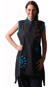 Psy Goa Tunic Layered Look Hippie Black/Blue – Bild 1