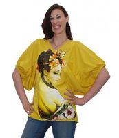 Top with Cap Sleeves Geisha Shirt Lady Yellow Sun 001