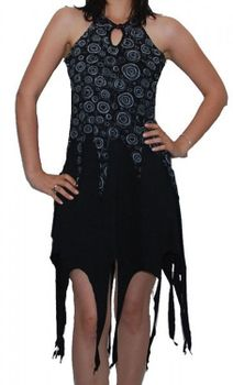 Gothic Hippie Goa Larp Trance - Fringed Elfin Summer Dress – Bild 1