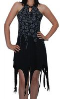 Gothic Hippie Goa Larp Trance - Fringed Elfin Summer Dress 001