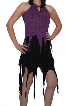 Gothic Hippie Goa Larp Trance - Fringed Elfin Summer Dress Black/Purple