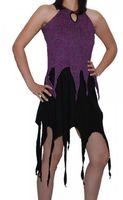 Gothic Hippie Goa Larp Trance - Fringed Elfin Summer Dress Black/Purple 001
