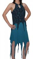 Gothic Hippie Goa Larp Trance - Fringed Elfin Summer Dress Black/Blue 001