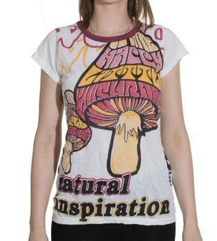 Gothic Hippie Goa Larp Trance - Magic Mushroom Natural Inspiration 70s Retro Girlie T-Shirt – Bild 1