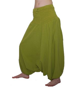 Psy Hippie Goa & Ethno Fashion - 2in1 Harem Pants / Catsuit Lemongreen