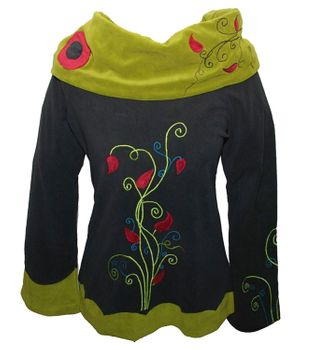 Amazing Black Fleece Sweater with Green Velvet Collar Psy Hippie Fraggle – Bild 1