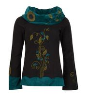 Extravagant Goa Fleece Sweater with a Wide Turtleneck Black/Turquoise