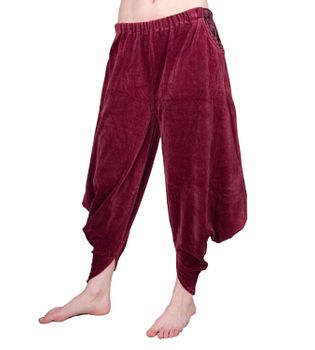 Sarouel Harem Pants Made From Velvet Aladdin Pants Bordeaux