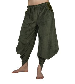 Sarouel Harem Pants Made From Velvet Aladdin Pants Green