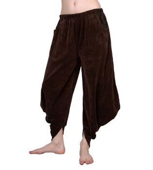 Sarouel Harem Pants Made From Velvet Aladdin Pants Brown