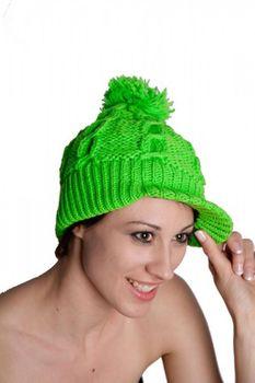 Strick Schirmmütze aus Wolle mit Fleecefutter Grün