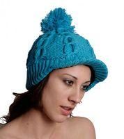 Strick Schirmmütze aus Wolle mit Fleecefutter Blau 001