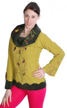 Extravagant Goa Fleece Sweater with a Wide Turtleneck Mustard