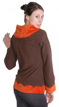 Extravagant Goa Fleece Sweater with a Wide Turtleneck Brown/Orange – Bild 2