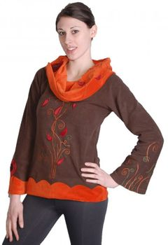 Extravagant Goa Fleece Sweater with a Wide Turtleneck Brown/Orange