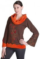 Extravagant Goa Fleece Sweater with a Wide Turtleneck Brown/Orange 001