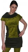 Boho Shirt Velvet Tunic Minidress Longshirt Turtleneck Black/Green 001