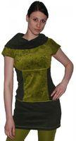 Boho Oberteil aus Samt Tunika Minikleid Longshirt mit Rollkragen Grüntöne 001