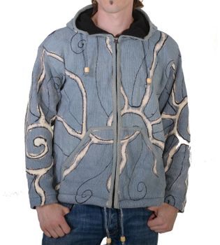 Goa Batik Cardigan Hippie jacket with zip hood for men – Bild 2