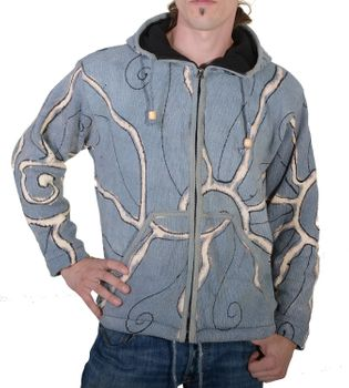 Goa Batik Cardigan Hippie jacket with zip hood for men – Bild 1