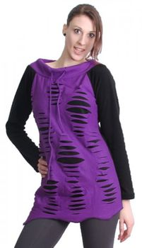 Goa Hippie Fleece Shirt Tunic Minidress Longshirt Razor Cut Design Purple/Black – Bild 1