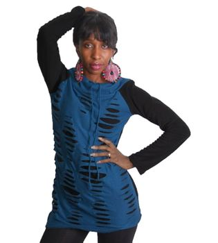 Goa Hippie Fleece Shirt Tunic Minidress Longshirt Razor Cut Design Black/Blue