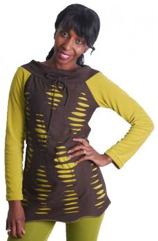 Goa Hippie Fleece Shirt Tunic Minidress Longshirt Razor Cut Design Brown/Mustard – Bild 1