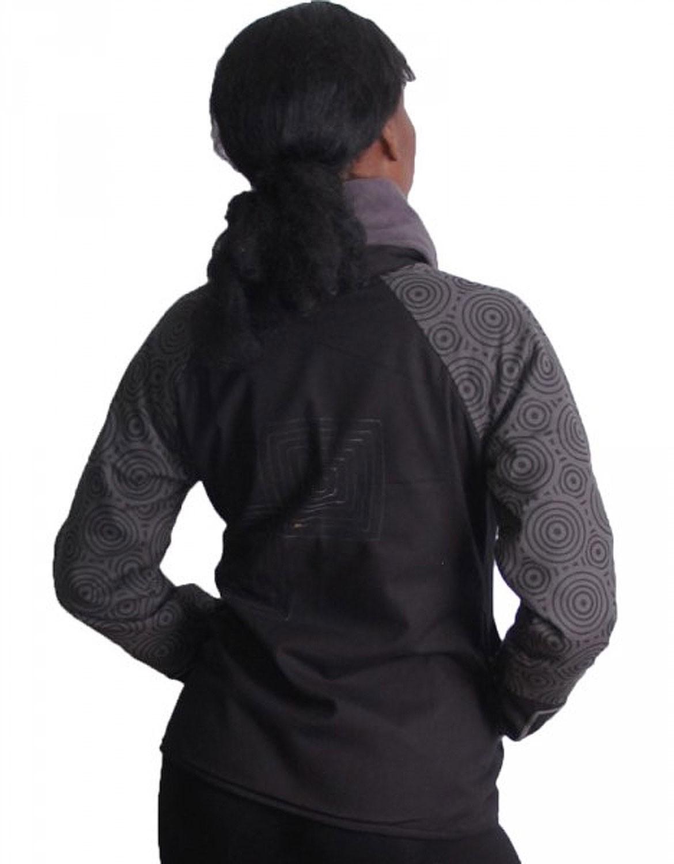 schwarz graue boho jacke mit rollkragen und fleecefutter. Black Bedroom Furniture Sets. Home Design Ideas