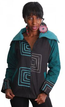 Black-Turquoise Boho jacket with roll collar and fleece lining – Bild 2