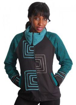 Black-Turquoise Boho jacket with roll collar and fleece lining – Bild 1