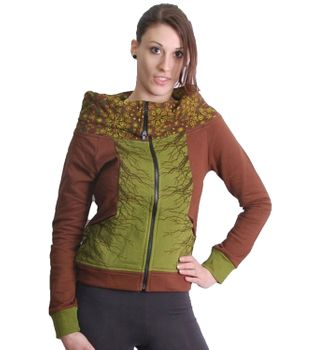 Brown-Green Boho Jacket Sweatjacket with roll collar