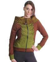 Brown-Green Boho Jacket Sweatjacket with roll collar 001