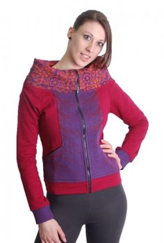 Pink-Purple Boho Jacket Sweatjacket with roll collar – Bild 1