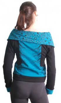 Blue-Black Boho Jacket Sweatjacket with Collar – Bild 3