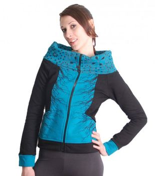 Blue-Black Boho Jacket Sweatjacket with Collar – Bild 2