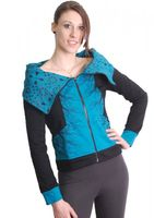 Blue-Black Boho Jacket Sweatjacket with Collar 001