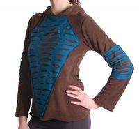 Elvish Fleece Sweater in Brown and Blue with Elfin Hood 001