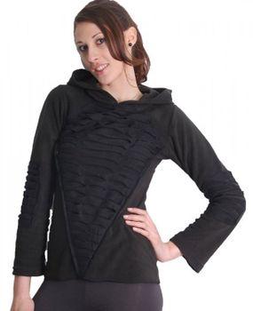 Elfen Fleece Pullover mit Zipfelkapuze in Schwarz – Bild 1