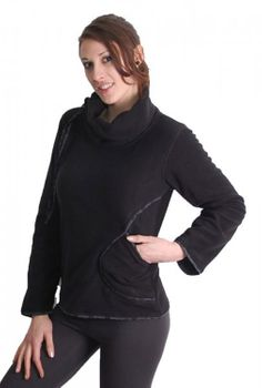 Extravagant Goa Fleece Sweater with a Wide Turtleneck Black/Grey – Bild 2