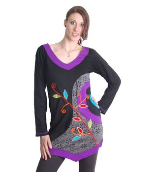 Goa Hippie Patch Shirt Tunic Minidress Longshirt Black/Multicolored – Bild 1