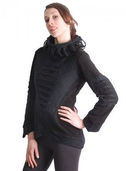 Elvish Goa Fleece Sweater with Turtleneck Cyber Cutwork Black – Bild 1