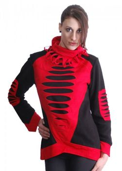 Elvish Goa Fleece Sweater with Turtleneck Cyber Cutwork Black/Red – Bild 1