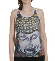 70s Retro Top with Buddha Face Print 001