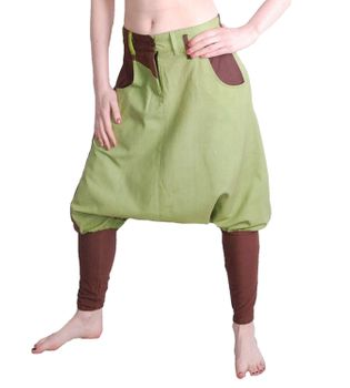 Comfortable Unisex Harem Pants in Brown and Lemongreen