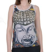 70s Retro Top with Buddha Face Print White  001