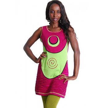 Neo Hippie Mini Dress in a Colorful Patchwork Design Pink – Bild 1