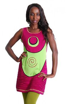 Neo Hippie Mini Dress in a Colorful Patchwork Design Pink – Bild 2